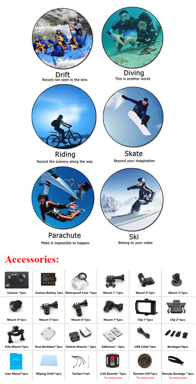 4K Wifi Sports Waterproof Camera DVR Cam DV Video action camera