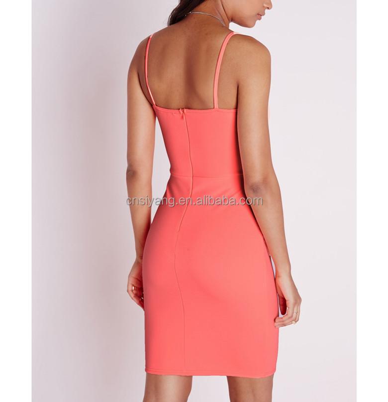 China Supplier Scuba Fabric Strappy Square Neck Bodycon Dress Neon ...
