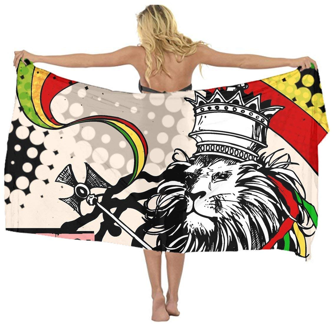 495be020e4 Get Quotations · AMERICAN TANG Cover up Beach Sarong Wrap Rasta Lion  Jamaican Reggae crown Scarf