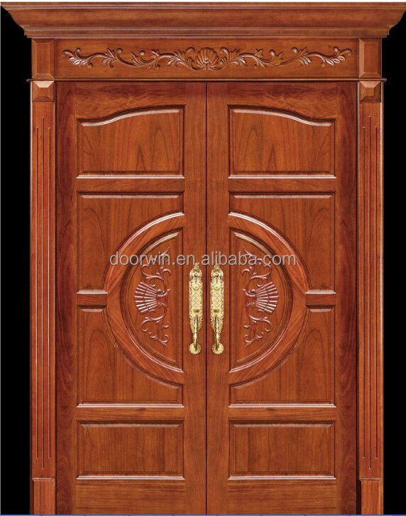Simple exterior teak wood double entry soundproof door for Front double door designs indian houses