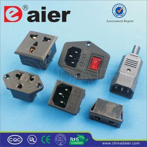 Daier 3-pin plug pcb mount AC power socket