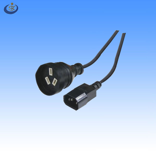 SAA standard 3 pin female ac power cord to IEC320 C14 male connector