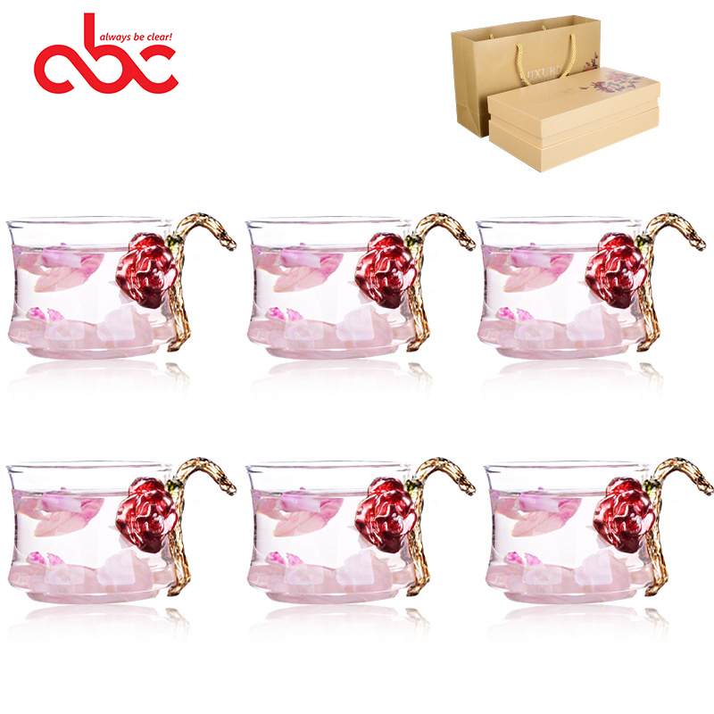 Heat Resistant Borosilicate Enamel Glass Tea Cup Set With Gift Box For Blooming Tea 6pcs Enamel Glass Tea Mug 80ml