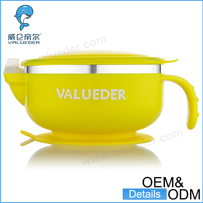 Safe pp plastic material and can inject warm water to keep food thermal suction baby bowl