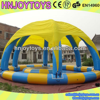 2015 hot sale swimming pool inflatable with custom roof tent