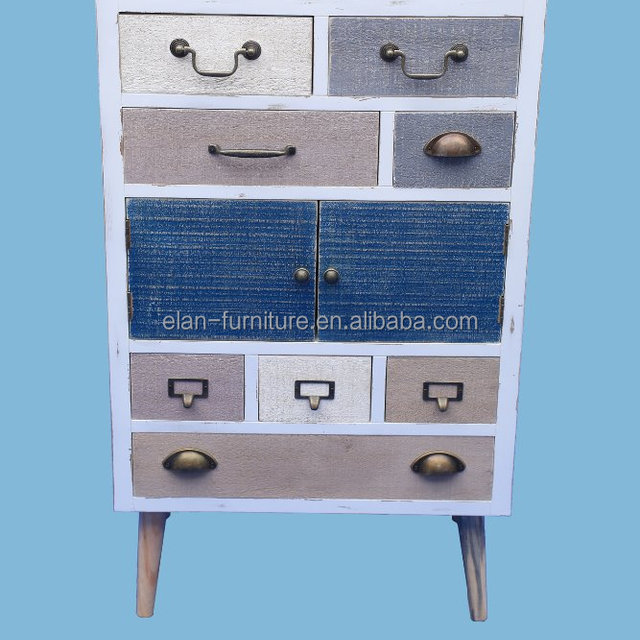 French Antique Colorful Furniture Wooden Multi Drawers Cabinet Solid Leg  Off Design Home Furniture