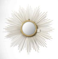Wholesale luxury sun shaped design antique brass color metal framed home decorative wall hanging gold mirror