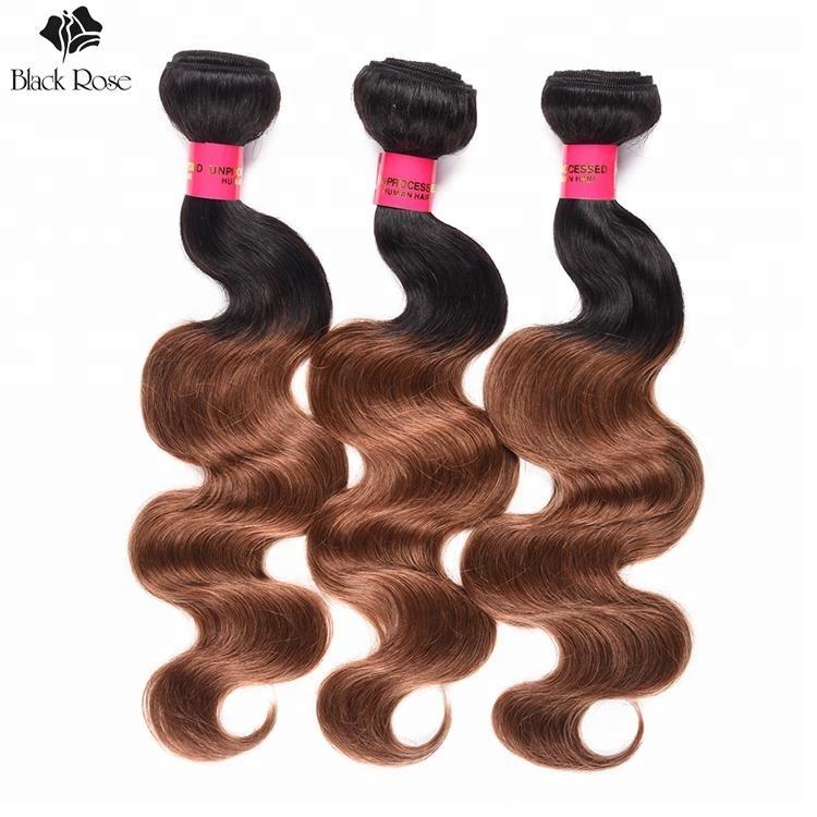100% menselijk haar braziliaanse kleur haar twee tonen ombre 1B/30 body wave, braziliaanse 1B/30 remy hair extensions