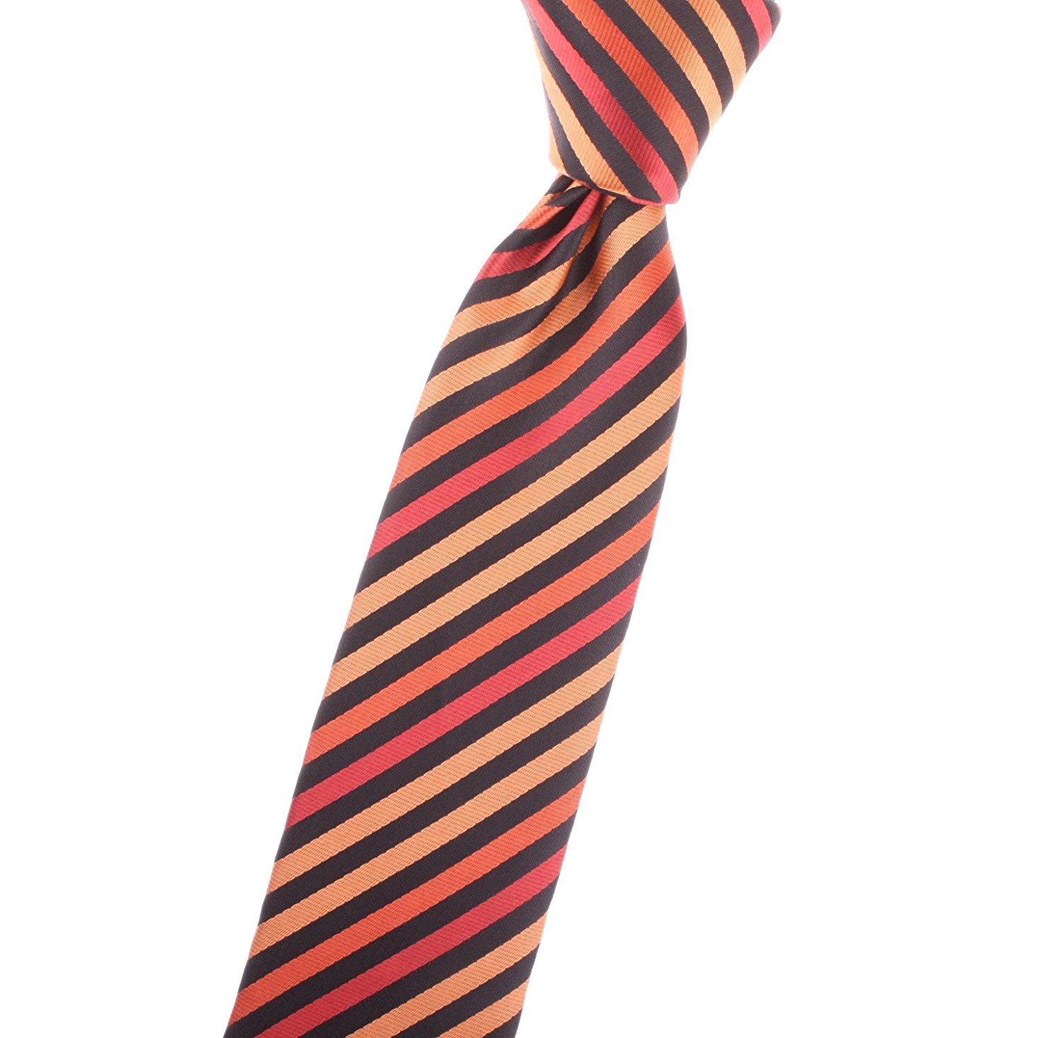 Boy's / Youth / Kid's / Children's Ties Striped Orange and Black, with Onyx Black, Rust, Burnt & Flame Orange - by Jon vanDyk