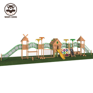 New children rope net outdoor climb house wooden playground amusement park for kids