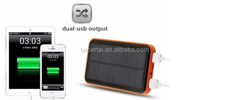 Solar Power Bank Dual USB Powerbank 10000mAh External Battery Portable Charger Bateria Externa Pack for Mobile phone