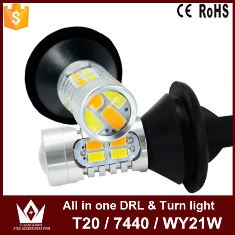 Ночь властелин колец золотой цвет 20 Вт T20 7440 WY21W из светодиодов DRL дневные ходовые огни и передние поворотники все в одном