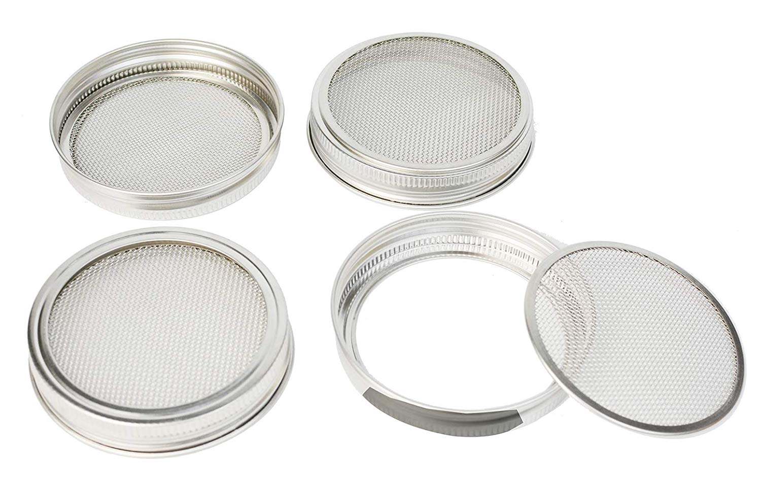 Sprouting Jar Lid Kit, HapWay 4 Pack Stainless Steel Bean Screen Mason Jar Sprouting Strainer Lids for Wide Mouth Mason Jars Canning Jars