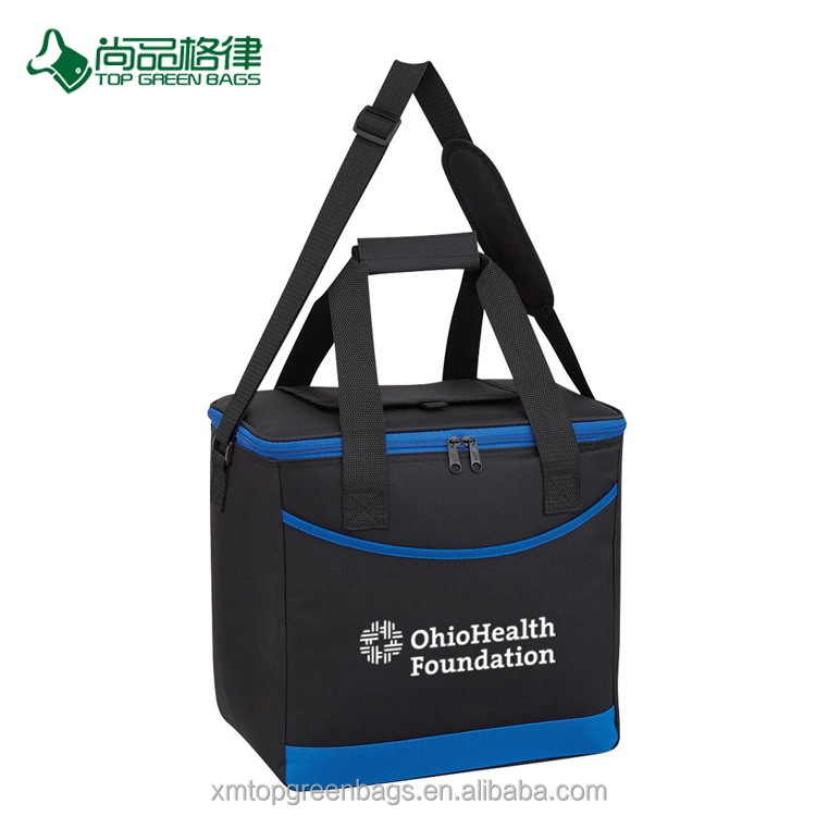 Customize Economical Durable 24 Cans Carrying Handles And Top Compartment Polyester Cooler Tote Bag