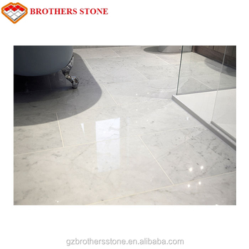 White Carrara Marble Simple Style Carrara White Marble Floor Tile
