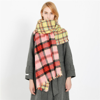 2018 Autumn Winter Colored Plaid Scarf Women Chi Acrylic Tartan Printed Scarf Wholesale