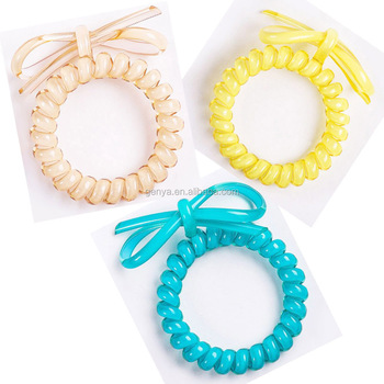 New High Quality Bow Plastic Spiral Bracelet Telephone Cord Hair Ties Wrist Band