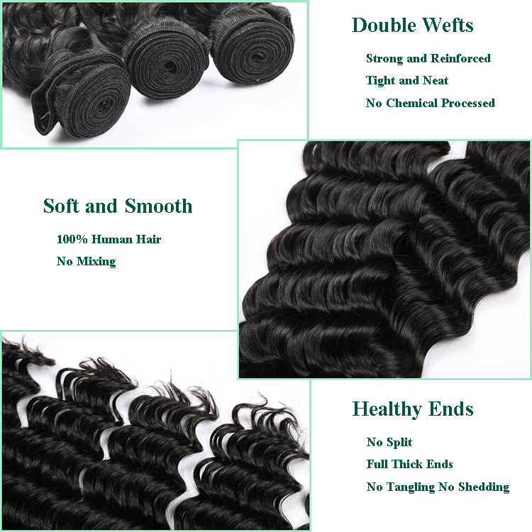 Black Unprocessed Vietnamese Double Drawn Raw Hair Cuticle Aligned Deep Wave Hair