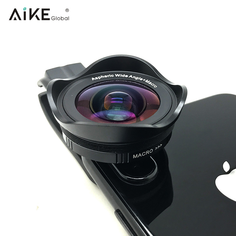 Aikeglobal pro optical clip on smartphone 0.6X HD wide angle+macro 2 in 1 cell phone camera lens kits for iPhone 8 X