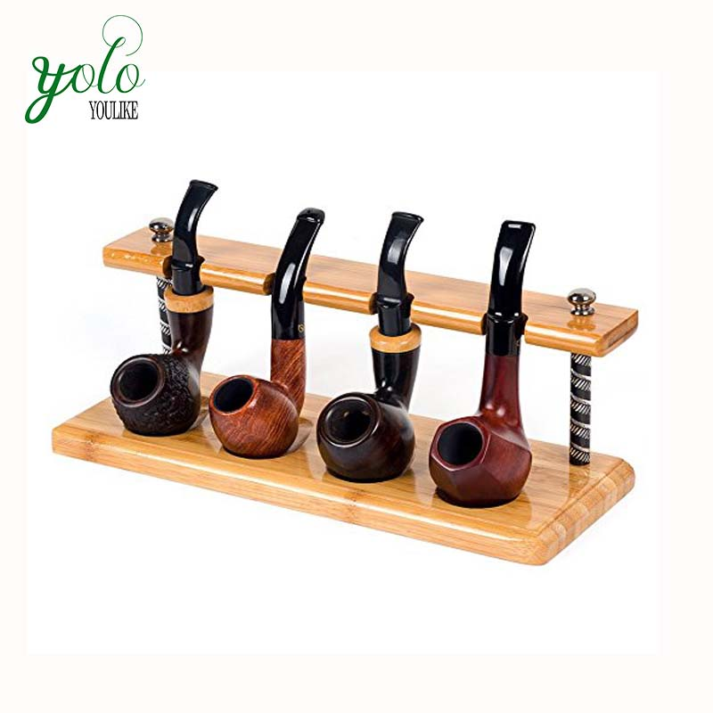 Wholesale Natural Bamboo wood Smoking Stand Rack for holding 4 Pipes