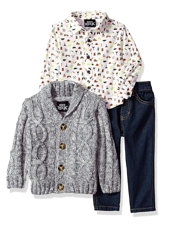 bb66712c5c Get Quotations · Infant & Toddler Boys 3-Piece Gray Cardigan Woven Shirt &  Denim Pant Set