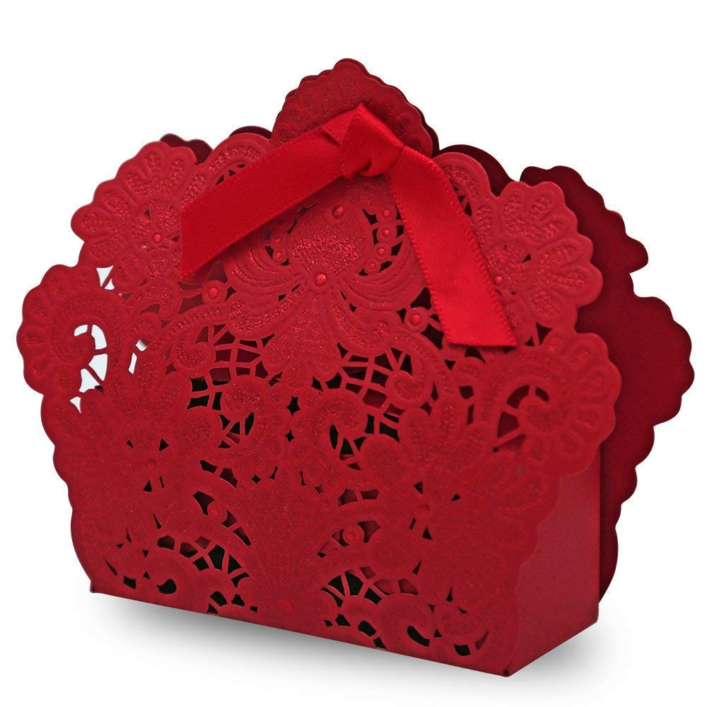 100 Pack Red Laser Cut Favor Candy Box with Ribbons Bridal Shower Wedding Party Favors (red)
