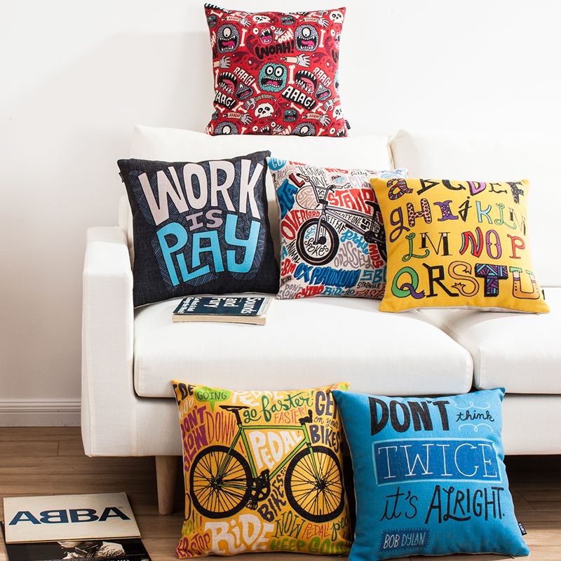 Free shipping throw pillow wedding decor linen fabric gift Hot sale 100% new 45cm Pure bike hold fast sofa cotton cushion cover
