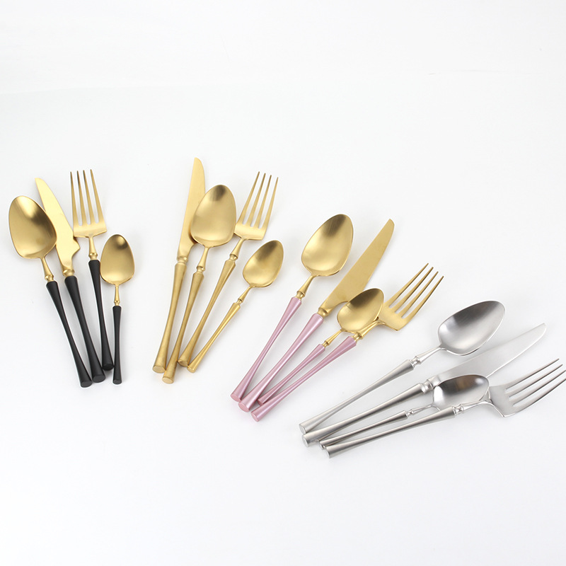 Colorful Luxury 304 Stainless Steel Knife Spoon Fork Gold Plated Flatware Set Matte Black Gold Pink Handle Cutlery Set