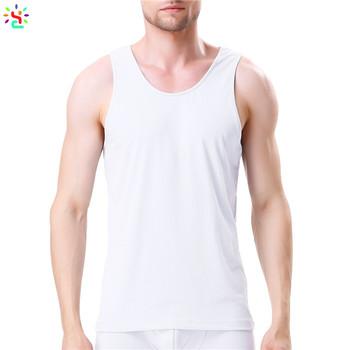 15b9879b92928 White undershirt men tank top plain basic tee crew neck sleeveless t shirt  mens singlet wholesale