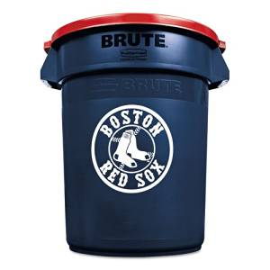 Rubbermaid Commercial Team Brute Round Container w/Lid, Red Sox, 32 Gal, Plastic, Navy Blue/White/Red - Includes one waste receptacle with lid.