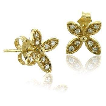 d1b74f93e73f 14 k or jaune fleur 4 feuilles trèfle boucles diamant boucles d oreilles (  gh