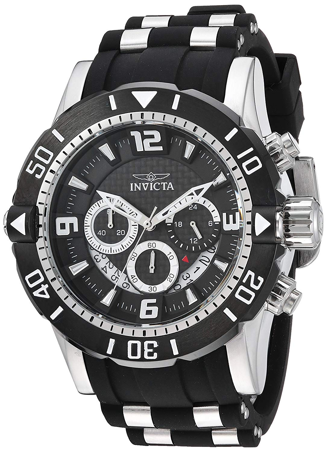 Invicta Men's 'Pro Diver' Quartz Stainless Steel and Polyurethane Diving Watch, Color:Black (Model: 23696)