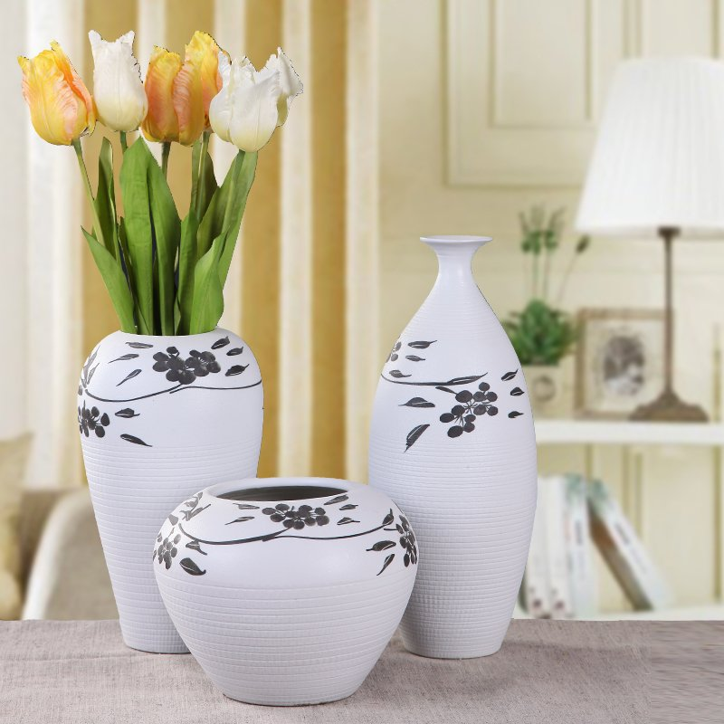 decorative black and white pottery Artistic Ceramic Decoration Vase set of 3