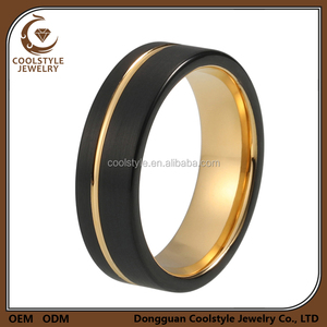 Womens Mens Wedding Band 6mm Black Brushed Thin Side Gold Groove Flat Tungsten Ring