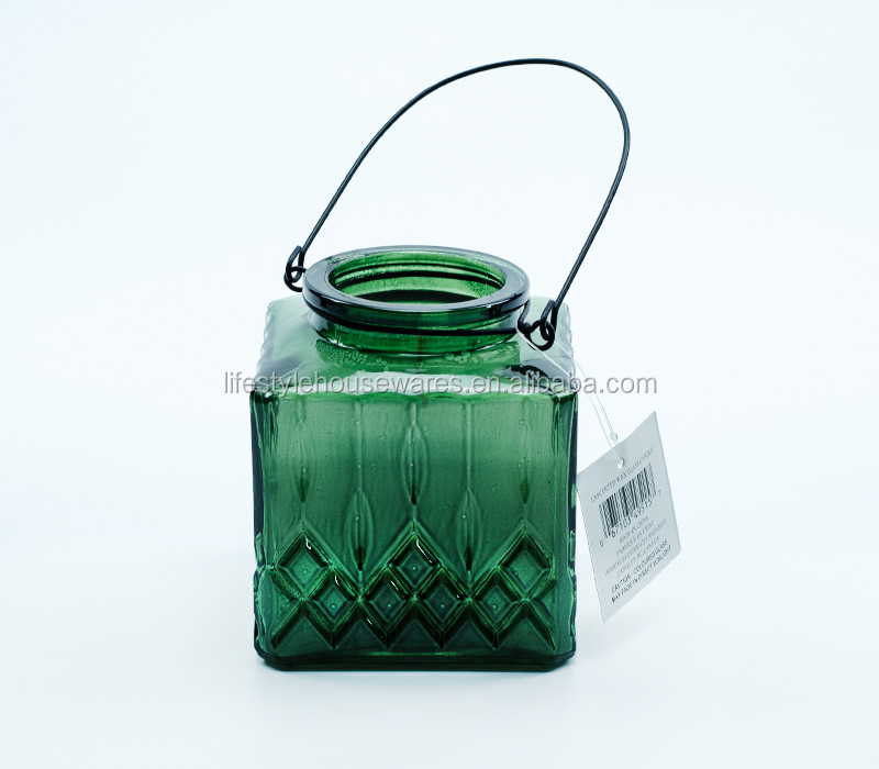Glass candle square style hanging decorative light with rope handle