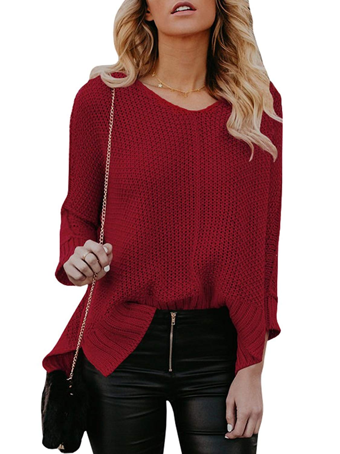 Get Quotations · Women V Neck Sweaters Cute Cable Knit Oversized Warm  Chunky Pullover Jumpers 1fee0cbec