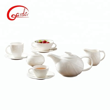 Pakistan daily used chinese vintage tea set / white color turkish ceramic cup with tea pot
