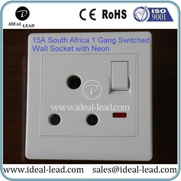 15A South Africa 1 Gang Switched Wall Socket with Neon