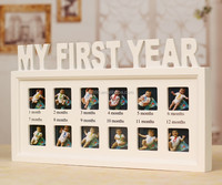 12 month baby diary wood picture photo frame