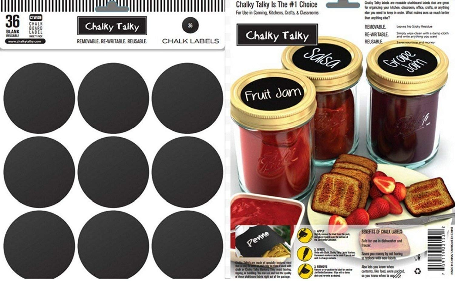 "Chalky Talky 36 Wide Mouth Mason Jar Reusable Chalkboard Labels - 2.5"" Fit Ball, Kerr, Canning Lids"