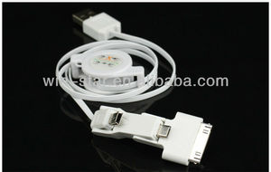 2013 hot and newest 3 in 1 ipod high quality USB retractable data cable