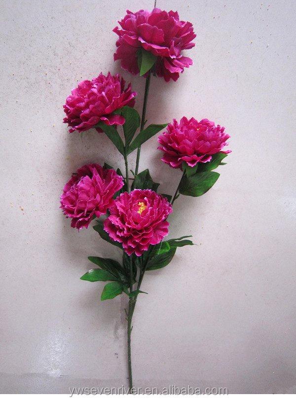 5 Head Simulation Peony Flowers,Peach Blossom Lotus Lily Plum ...