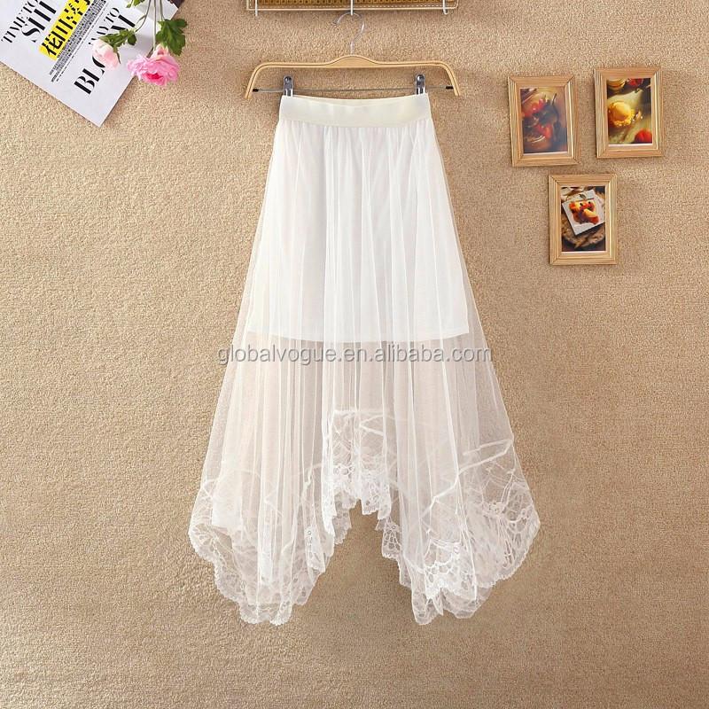 6291c7793 2016 Nuevo Verano Encaje Sexy Mujer Faldas Para Mujer De Moda De Sección  Larga Falda Jupe De Tul Blanco Y Negro Falda Corta - Buy Blanco Y Negro ...