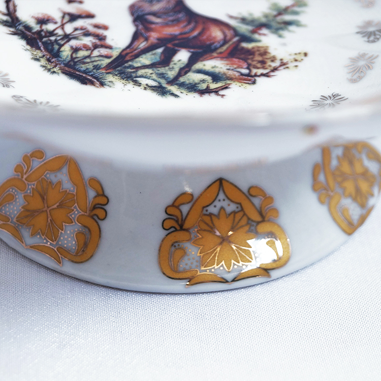 6 Inch Coffee Golden Leaf Elk Ceramic Fruit Bowl