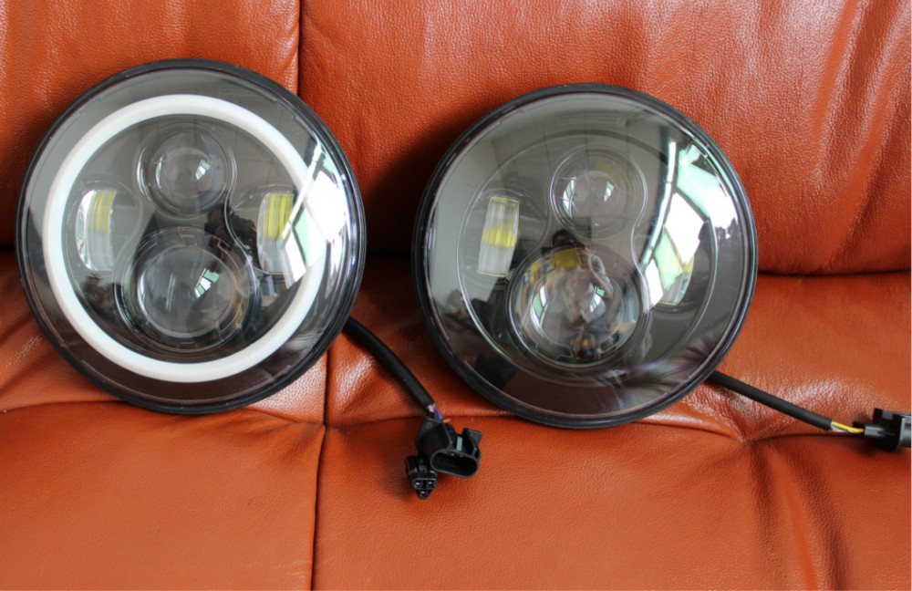 pair of black 7 inch h4 h13 led headlights replacement for jeep wrangler jk 2 door 4 door. Black Bedroom Furniture Sets. Home Design Ideas
