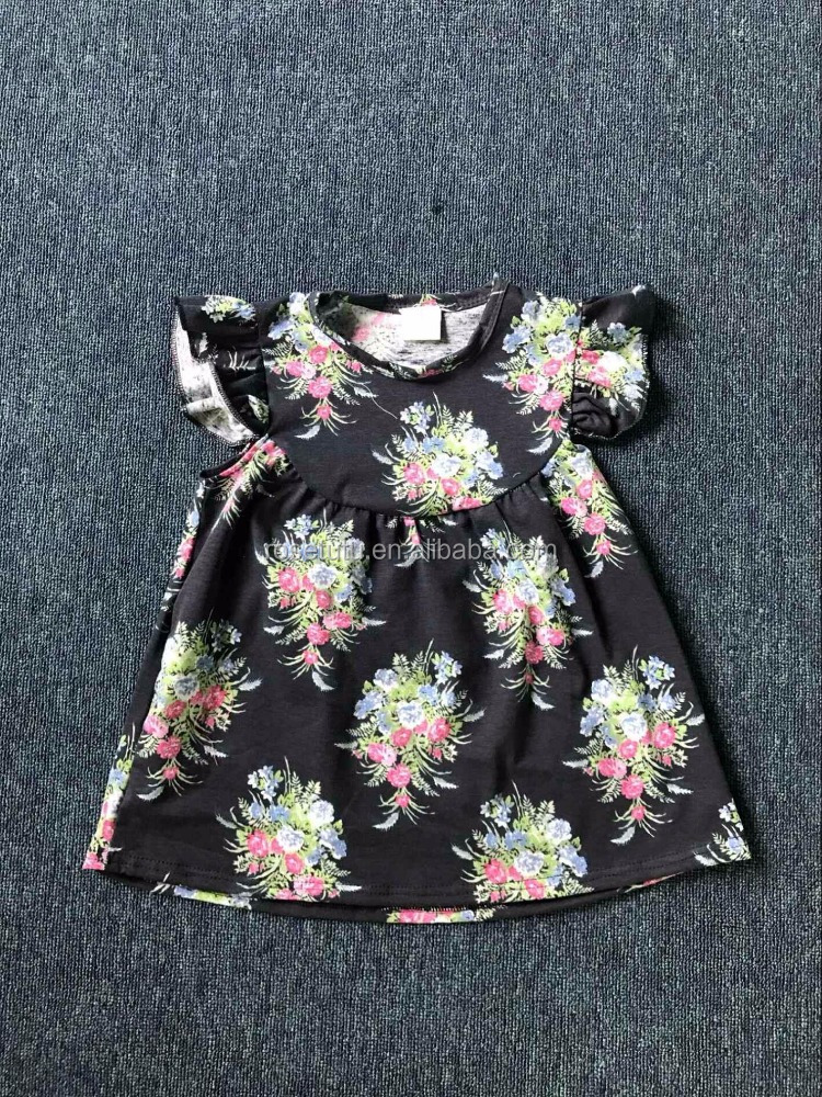 Baby Clothes Fashion Girl Dress Kids Flower Printed Children Frocks Designs Knitted Ruffle Dress