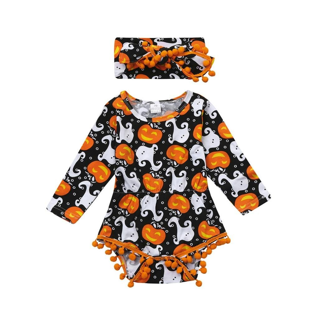 Halloween Baby Girls/Boys Clothes, Leewa@ 2Pcs/Set Infant Newborn Long Sleeve Pumpkin Bodysuit Pompom Romper with Headband Outfit