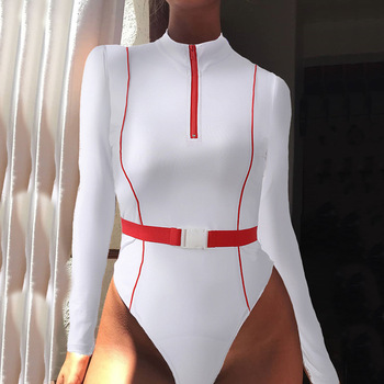 A1100T New Fashion women white splicing long sleeve slim tight zippers bodysuit