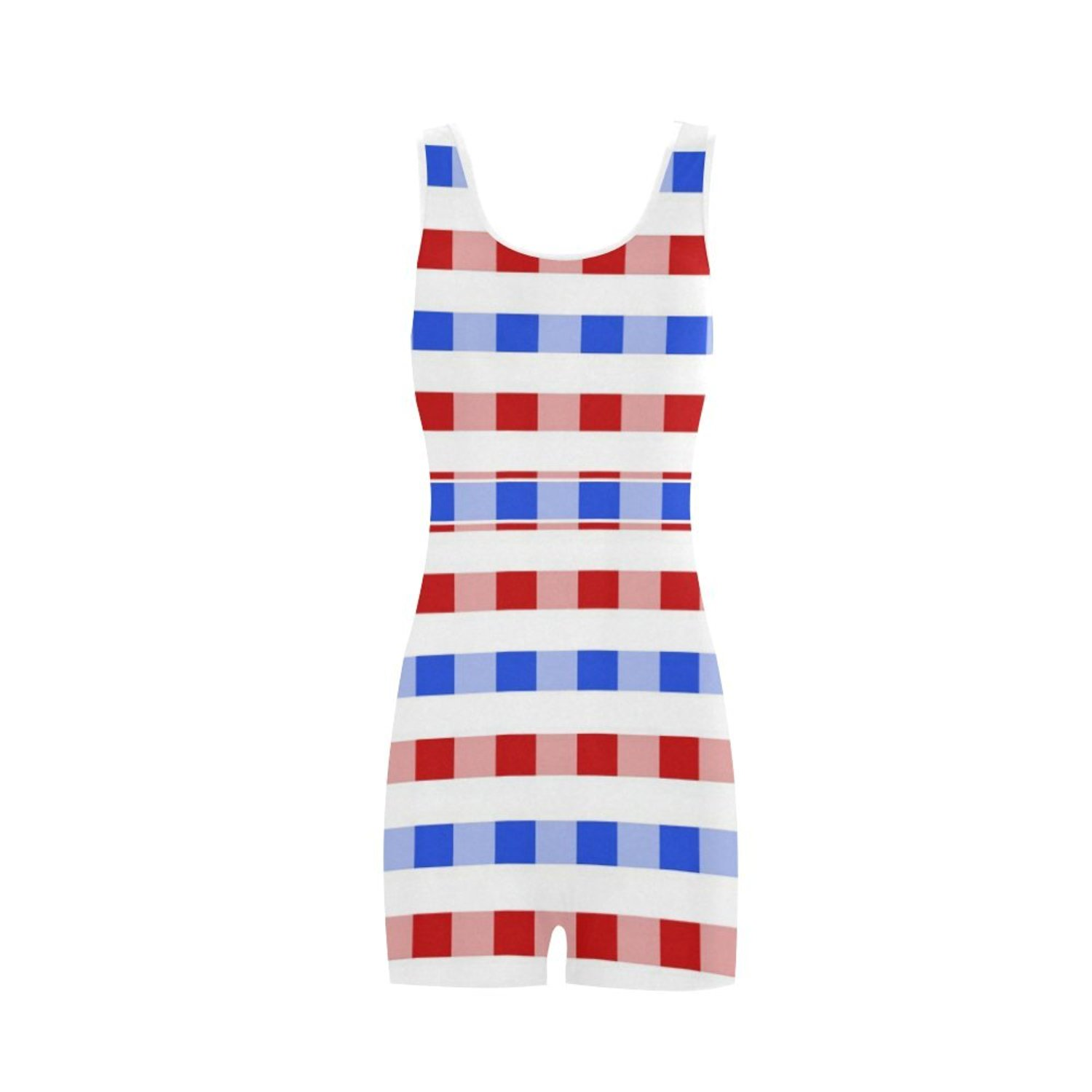 09ef16810b38b Get Quotations · Find Arts Customized Red White Blue Square Pattern Classic  One Piece Swimwear Swimsuit Bathing Suit Beachwear