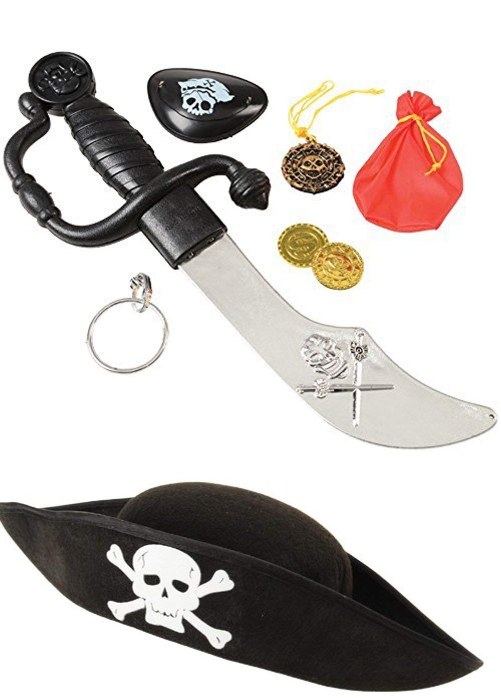 Pirate Costume Accessory Set (8 Pieces) Costume Pirate Hat, Eye Patch - Perfect For Pretend Play, Theme Party